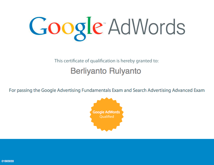 Berliyanto - Adwords Qualified Infovidual